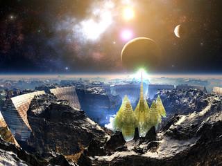 Illuminated Futuristic City within Arena Walls on Alien World
