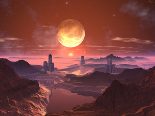 Three Futuristic Towered Cities with Moon at Sunset