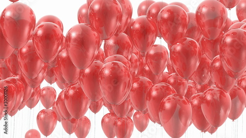 Red balloons transition - 3D masked animation