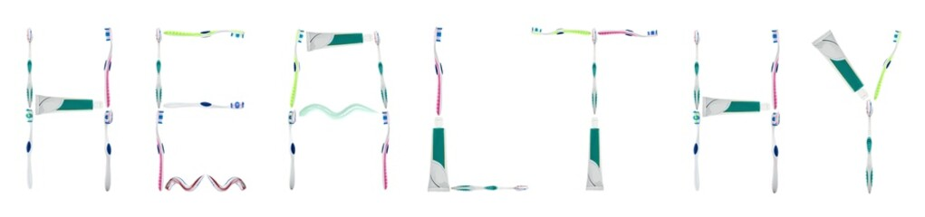 Healthy word made of toothbrushes