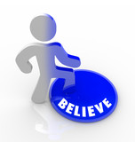 Believe - Person Steps Onto Button with Confidence poster