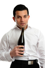 Alcohol Abuse - drunk man holding bottle wine