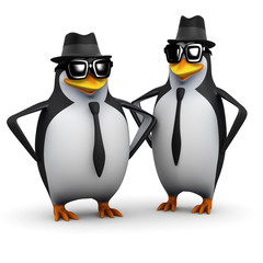 3d Penguins wearing pork pie hats and shades...