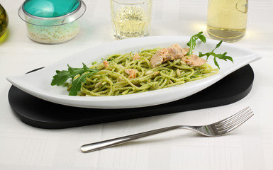 Pesto rucola e salmone - Pesto with salmon and arugula