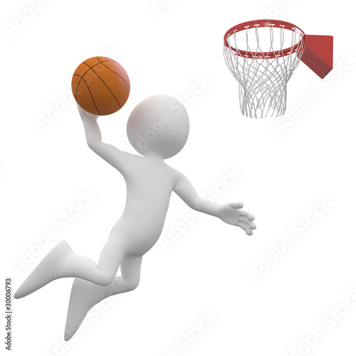 Basketball player making a dunk in the basket