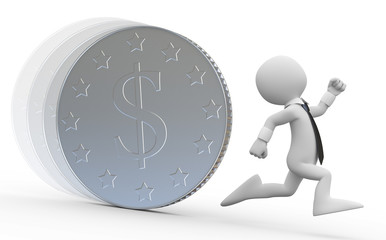 A business man running from a huge coin with the dollar symbol