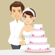 Bride and Groom happily cutting the wedding cake