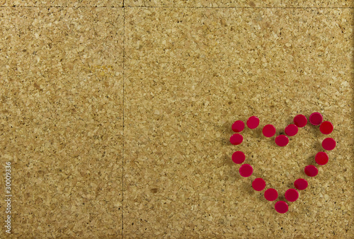 Corkboard background with heart