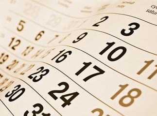 Closeup a toned calendar page