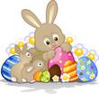 Coniglietti di Pasqua con uova