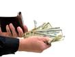 Man generously handing money from wallet