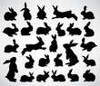 big collection of rabbit silhouettes - 30013975