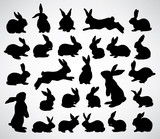 big collection of rabbit silhouettes
