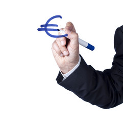 symbole de l'Euro écrit au marker bleu