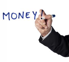mot money! écrit au marker bleu