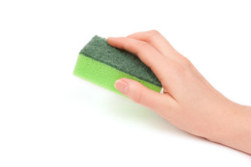 Hand with green sponge isolated on white background