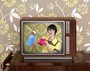 ad tvl retro nerd housewife cleaning chores