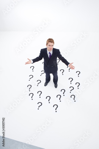 Confused businessman surrounded by question marks