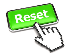 Green reset button and hand cursor