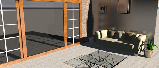 3d rendering of a living room