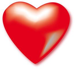 Rotes Herz plastisch und glänzend