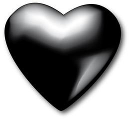 Schwarzes Herz plastisch und glänzend