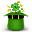 Hat with clover and gold for St. Patrick's day
