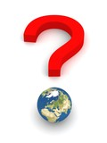 Symbolic Question Mark with Earth in red