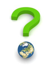 Symbolic Question Mark with Earth in green