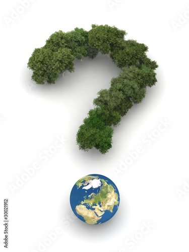 Symbolic Question Mark with Earth and Trees