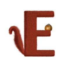 Ecureuil - lettrine animal - E comme écureuil