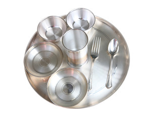 Traditional Indian Pure Silver Dinner Plate Setting