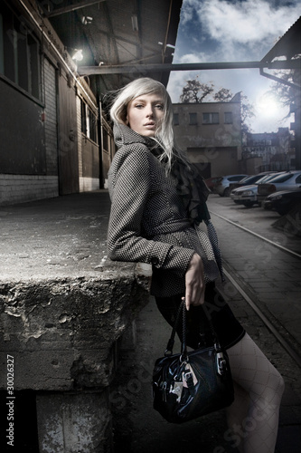 beautiful fashionable woman on the street