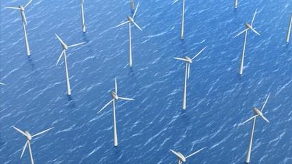 Windkrafträder im Wasser, Offshorepark zur Energieerzeugung
