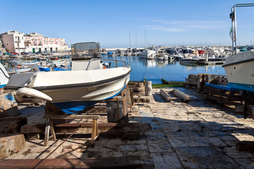 Panoramic view of Bisceglie seaport. Apulia.