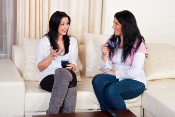 Two friends women conversation home