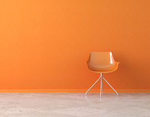 orange wall interior with copy space