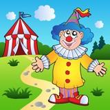 Cartoon clown with circus tent poster