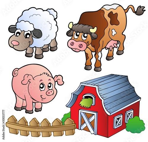 Foto op Canvas Boerderij Collection of various farm animals
