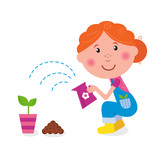 Small girl is watering plant in the garden. VECTOR
