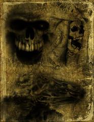 Altes Papier mit Totenschädel