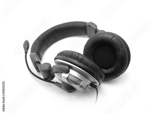 Modern headphones on white background