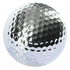 chrome golf ball isolated