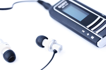 Portable MP3 player with headphones