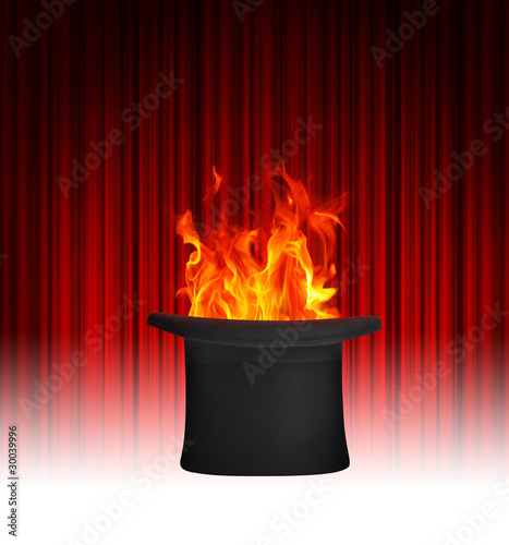 Magician top hat and flames