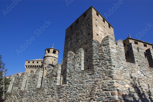 walls of medieval Castle in Italy, Aosta