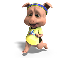 cute toon pig takes a jogging run. 3D rendering with clipping