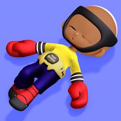 cute and funny childish cartoon boxer. 3D rendering with