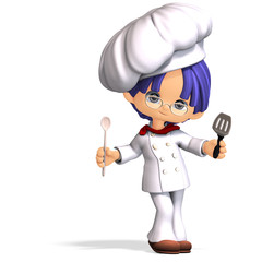 cute and funny cartoon cook. 3D rendering with clipping path
