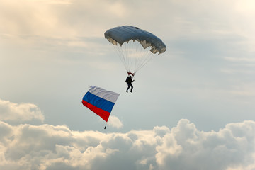 Skydiver with Russia flag.